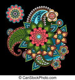 Paisley Floral Design Element. Bright Indian stylized flower