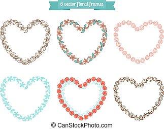 Heart floral frames - Vector floral frames in shape of heart