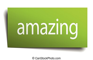 amazing green paper sign on white background