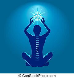 Chiropractic - Spine health illustration, man with shining...