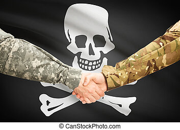 Military handshake with flag on background - Jolly Roger -...