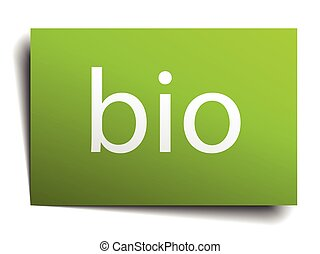 bio green paper sign on white background