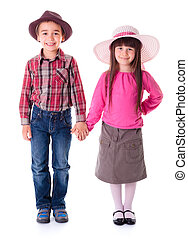 Casual girl and boy wearing hats - Casual girl and boy...