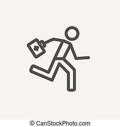 Paramedic running with first aid kit thin line icon -...