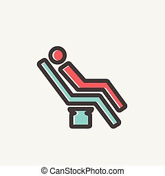 Man sitting on the dental chair thin line icon - Man sitting...