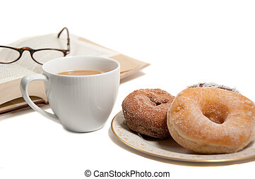 coffee break with donuts and a good book
