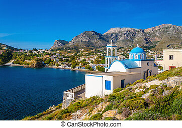 Greek blue dome churches, Kalymnos, Greece - Typical Greek...