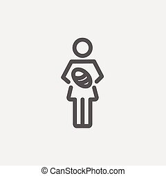 Mother breastfeeding her baby thin line icon - Mother...