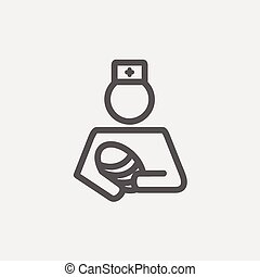 Nurse holding the baby thin line icon