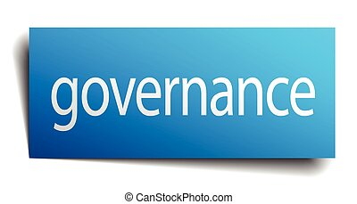 governance blue paper sign on white background