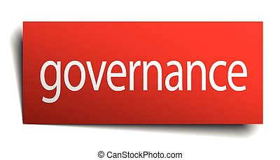 governance red square isolated paper sign on white
