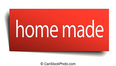 home made red square isolated paper sign on white