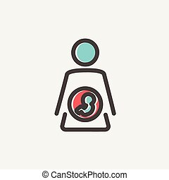 Baby fetus in mother womb thin line icon - Baby fetus in...