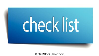 check list blue paper sign on white background