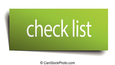 check list green paper sign on white background