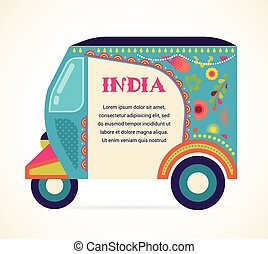 India - background with patterned rickshaw - India -...