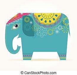 India - background with patterned elephant - India -...