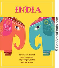 India - background with patterned elephants - India -...