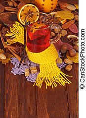 Christmas drink mulled wine with spices - Spruce branch,...