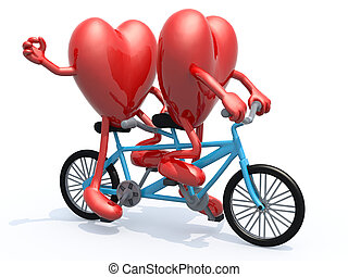 two hearts riding tandem bicycle - two hearts with arms and...