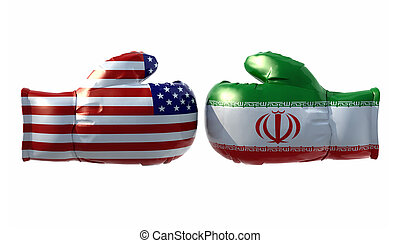 Boxing gloves with Usa and Iran flag, isolated 3d...