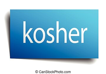 kosher blue paper sign on white background