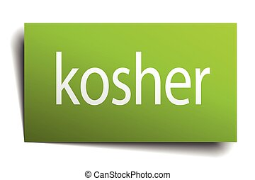 kosher green paper sign isolated on white