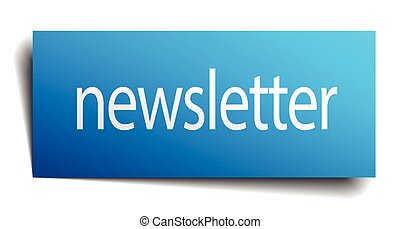 newsletter blue paper sign on white background