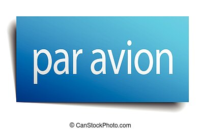 par avion blue paper sign on white background