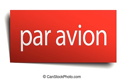 par avion red square isolated paper sign on white