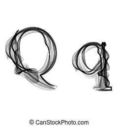 Black Smoke font. Letter Q - Black Smoke font on white...