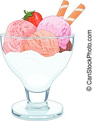 Ice cream - Illustration of a cup of ice cream