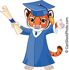 Tiger Graduates - Illustration of cute tiger graduates