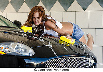 Auburn Model at the Car Wash - An auburn model takes time...