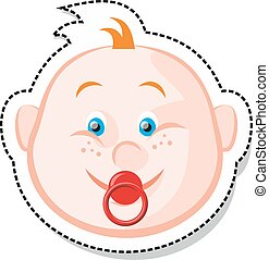 Baby Face - Vector illustration of gignger baby with a red...