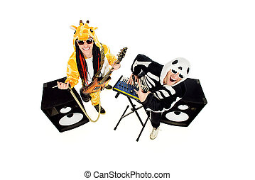giraffe song - Rock band in costumes of skeleton and giraffe...