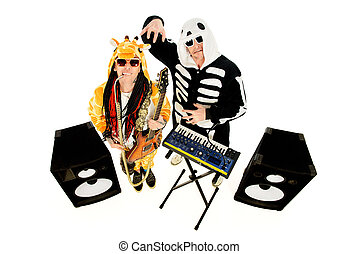 rock group - Rock band in costumes of skeleton and giraffe...