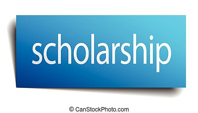 scholarship blue paper sign isolated on white