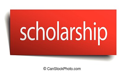 scholarship red paper sign isolated on white