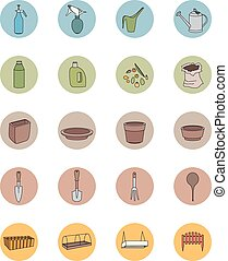 Gardening tools Sef of icons - Gardening tools Sef of round...