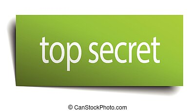 top secret square paper sign isolated on white