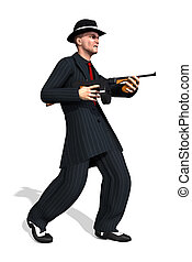 1920's Gangster - A 1920's gangster wearing a zoot suit and...