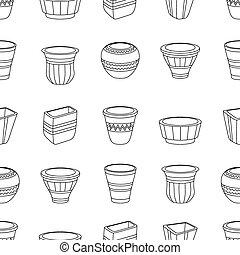 Seamless pattern with flowerpots.
