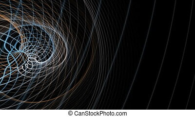 Fantastic animation with particle stripe object in motion, loop