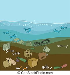 Water pollution in the ocean. Garbage,waste. - Water...