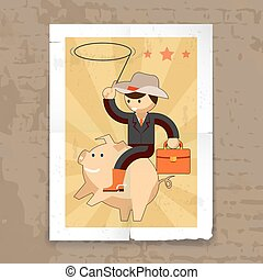 Businessman riding on piggy bank. Success concept, saving...