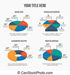 Vector pie charts in modern 3d flat style Infographic...