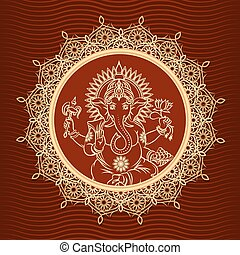Lord Ganesha sunburst. Head indian elephant and hinduism and...