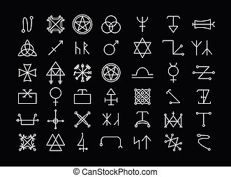 Religion and philosophy, spirituality or occultism icons -...