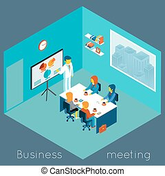 Isometric 3d business meeting. Teamwork and brainstorm,...